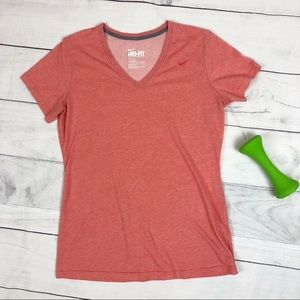 Nike Dri-Fit Short Sleeve Tee Shirt Coral Pink Lrg
